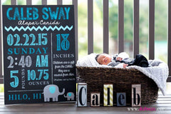 DIY - Printable Elephant Birth Announcement Chalkboard Sign // Poster