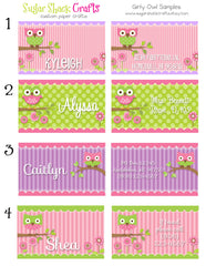 LAMINATED Girly Owl Backpack Tag/Diaper Bag Tag/Luggage Tag