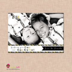 DIY - Printable Black and Gold Stripe New Year Photo Card