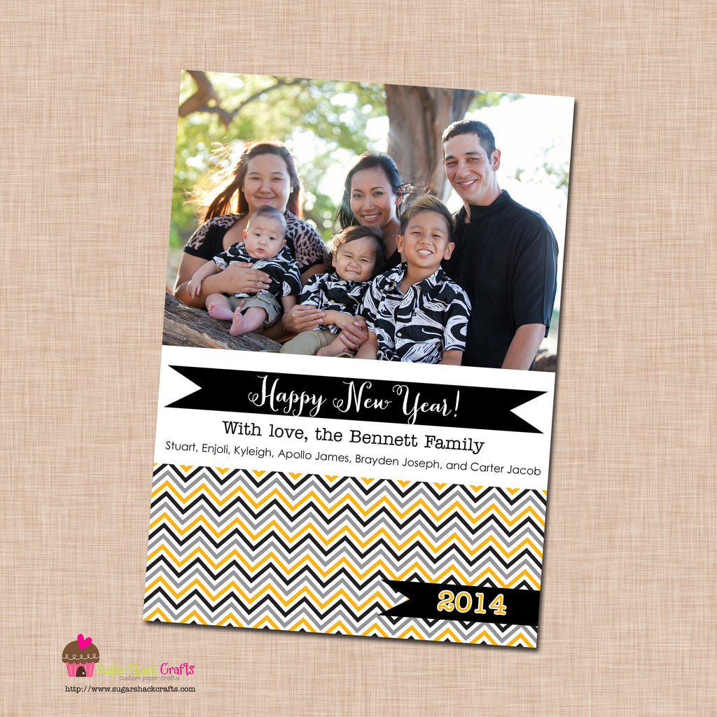 diy printable black and gold chevron new year photo card