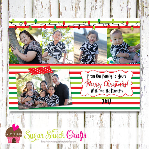 DIY - Printable Multi Green and Red Striped Christmas Photo Card