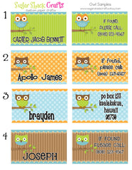 LAMINATED Owl Backpack Tag/Diaper Bag Tag/Luggage Tag