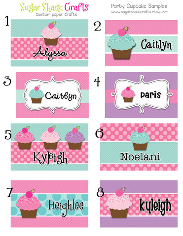 LAMINATED Party Cuppy Cake Backpack Tag Diaper Bag Tag Luggage Tag