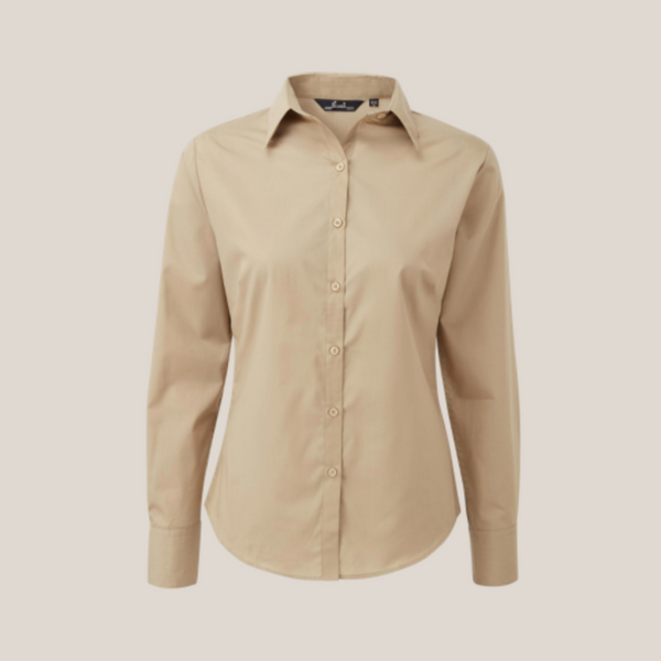 Premier Long Sleeve Poplin Blouse Muted Colours