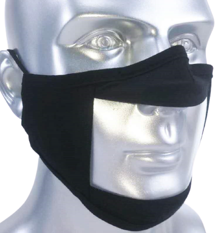 Communications Mask with Transparent Panel