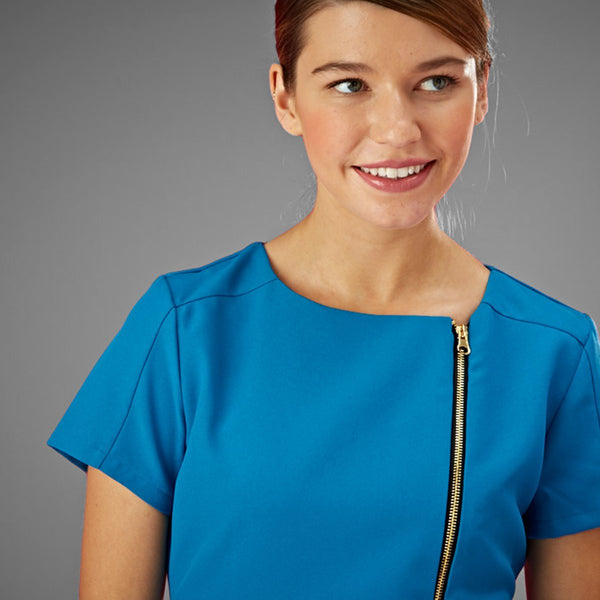 Hero Teal Salon Tunic with Full Zip (4-way stretch)