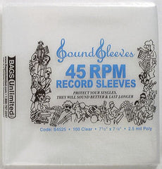 Album Sleeves: Bags Unlimited S4525 Polyethylene 45RPM Record Sleeve-No Flap-2.5Mil-100Ct