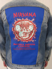 Nirvana Oakland Coliseum Embryo 1993 Dragonfly Blue Jean Denim Jacket (Large) Blue, Jean Jacket