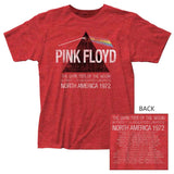 Pink Floyd:  Dark Side Of The Moon Lunatics 1972 American Tour Red T-Shirt Band Licensed 100% Cotton Front & Back Logo 1972 Tour Dates