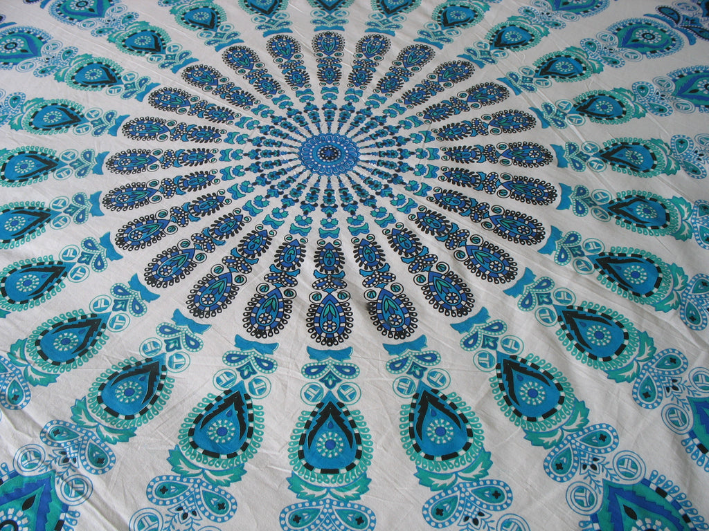 Mandala TapestryLight Blue Peacock Feather Bohemian doona ...