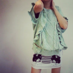 knitted sweater with ruffles