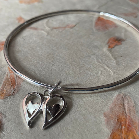 Angel Wings Heart Charm Bangle