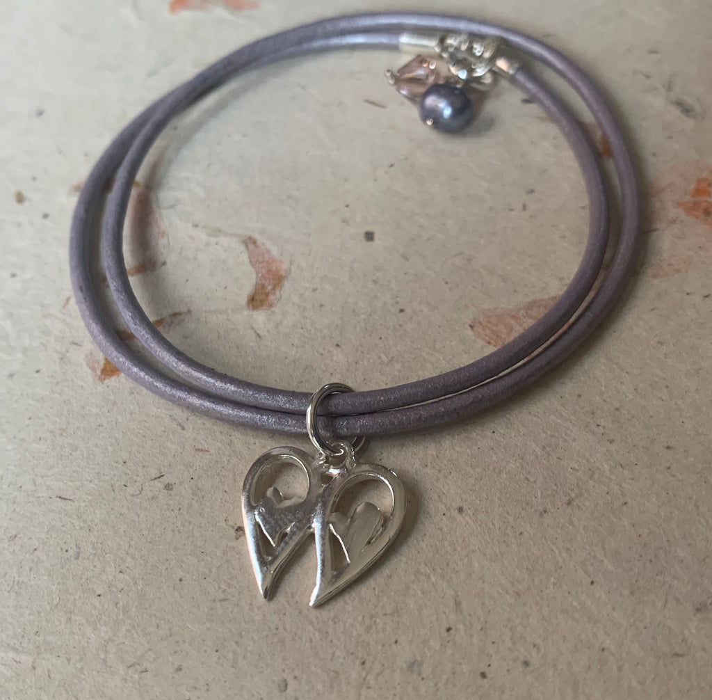 Angel Wings Heart Leather Charm Bracelet