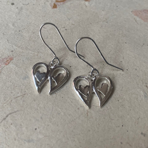 Angel wings heart drop earrings