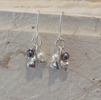 Double Heart Charm Drop Earrings