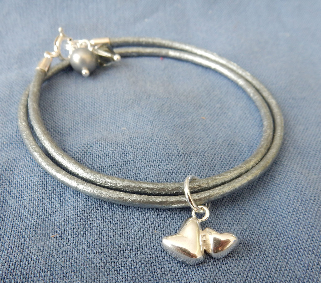 Double Heart Charm Leather Bracelet