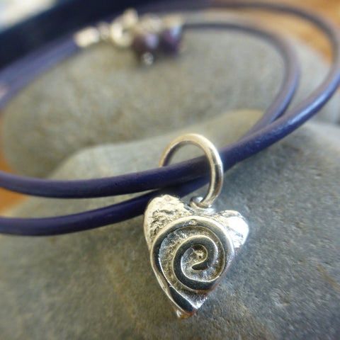 Swirly Heart Charm Leather Bracelet