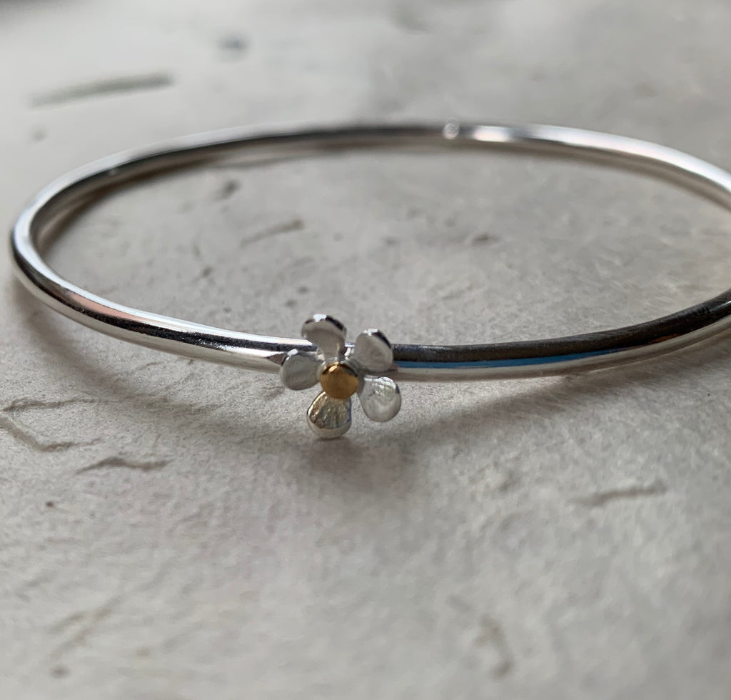 Gold and Silver Flower Bangle