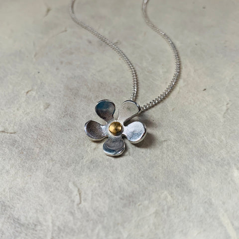 Silver and Gold Flower Pendant and Chain