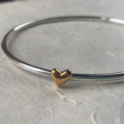 Gold and Silver Puffed Heart Bangle