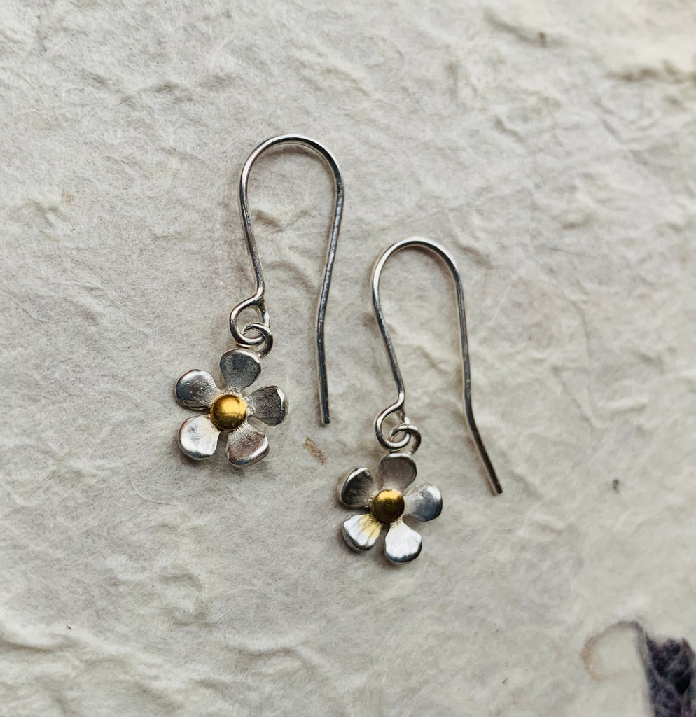 Silver and Gold Flower Drop Earrings