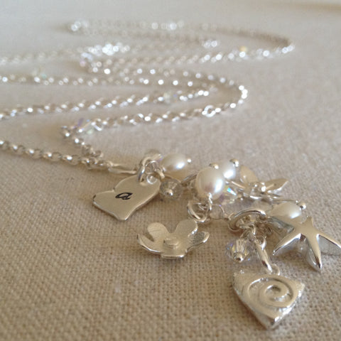 Hearts and Flower Charm Necklace