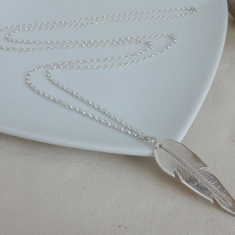 Large Leaf Pendant and Long Chain