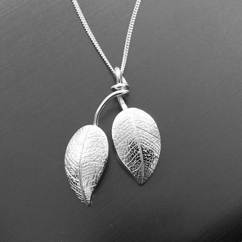 Silver Leaf and Branch Pendant and Chain