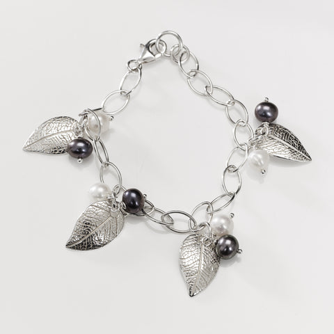 Leaf and Pearl Charm Bracelet