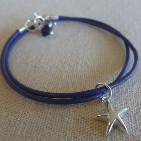 Leather and Silver Star Charm Bracelet.