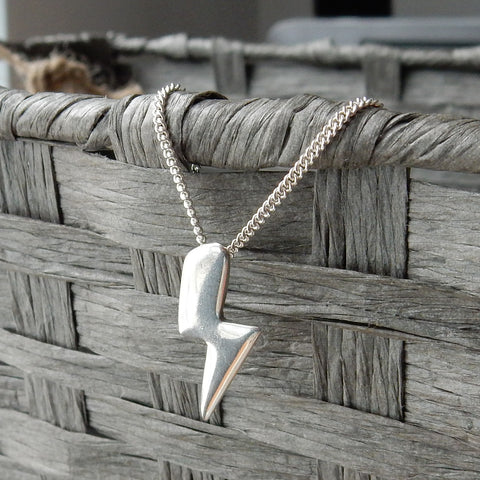 Lightning Bolt Pendant and Chain