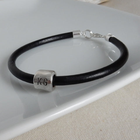 Leather and Silver Bracelet with Tube Bead Charm