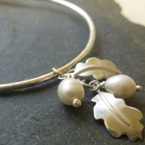 Oak Leaf Charm Bangle