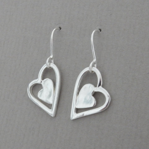 Patchwork Heart Drop Earrings