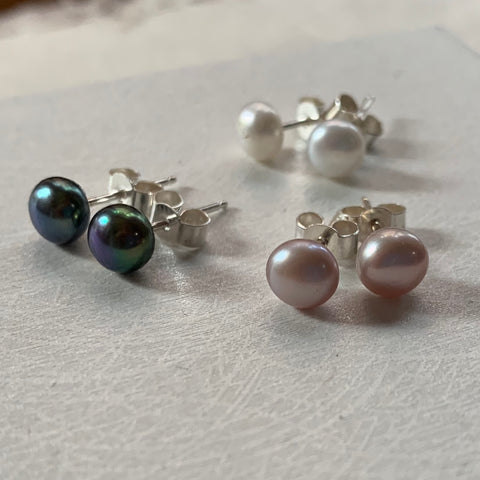 Freshwater Pearl and Sterling Silver Studs