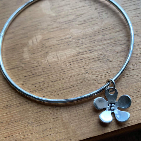 Silver Personalised Flower Charm Bangle