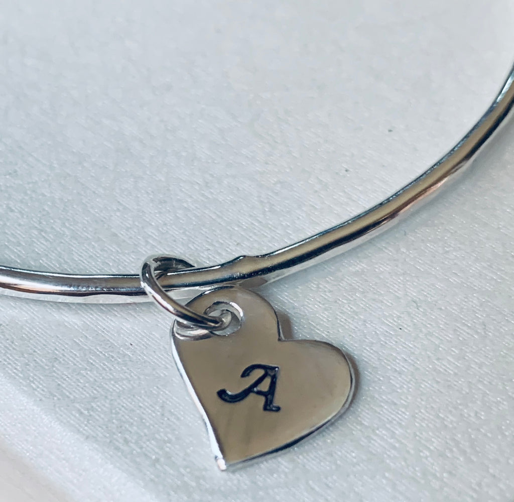 Personalised Heart Charm Bangle