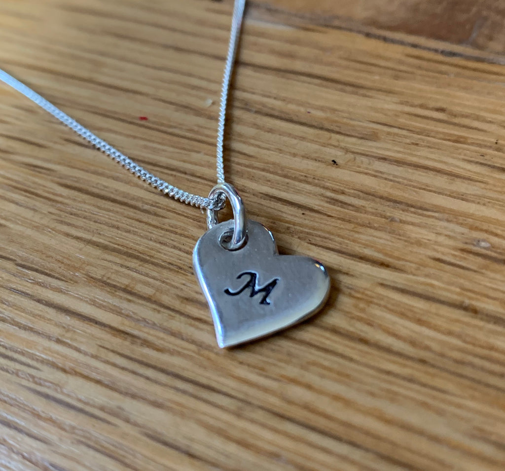 Silver Personalised Heart Charm Necklace