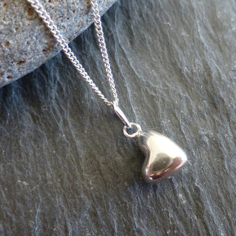 Puffed Heart Pendant and Chain