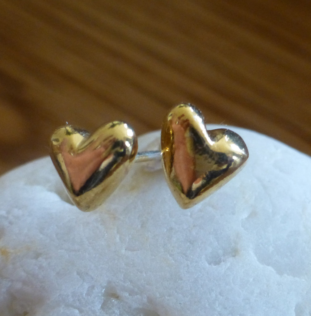 Gold Plated Silver Puffed Heart Stud Earrings