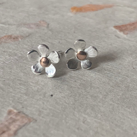 Silver and Rose Gold Flower Stud Earrings