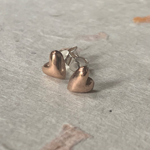 Rose Gold Plated Silver Puffed Heart Stud Earrings