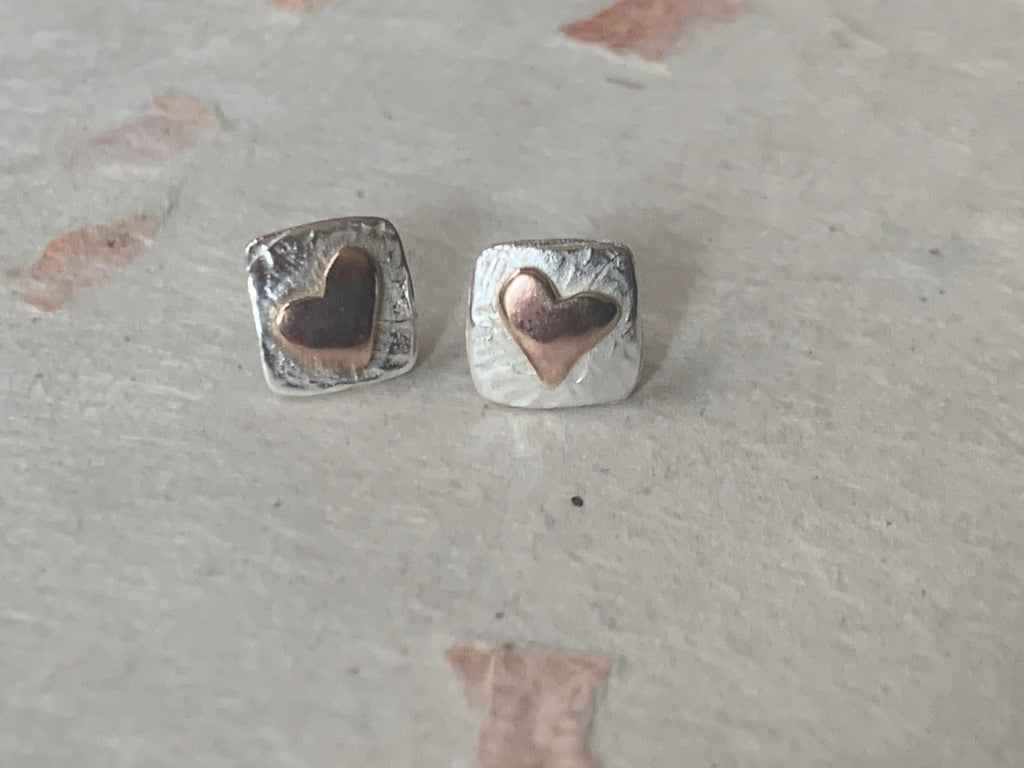 Silver and Rose Gold Square Heart Studs