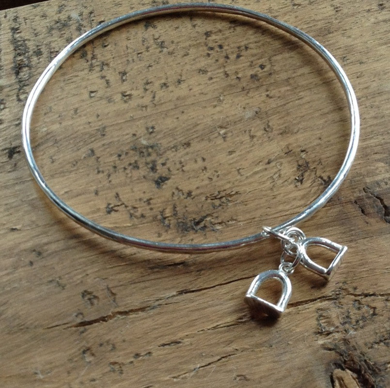Stirrup Silver Charm Bangle