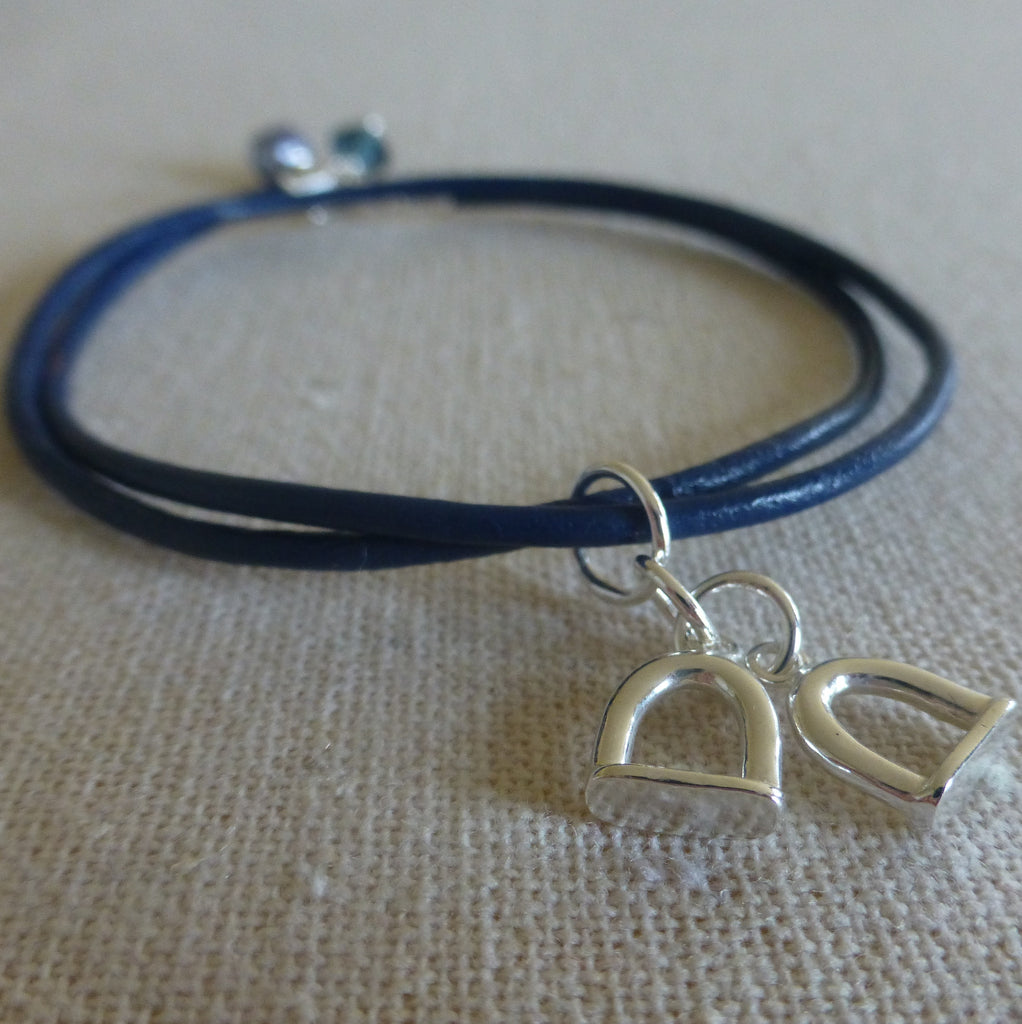 Stirrup Charm and Leather Bracelet
