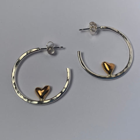 Silver and Gold Sweetheart Hoop Earrings