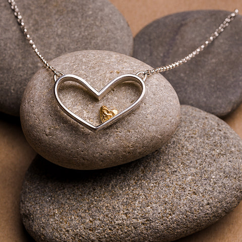 Silver and Gold Sweetheart Necklace