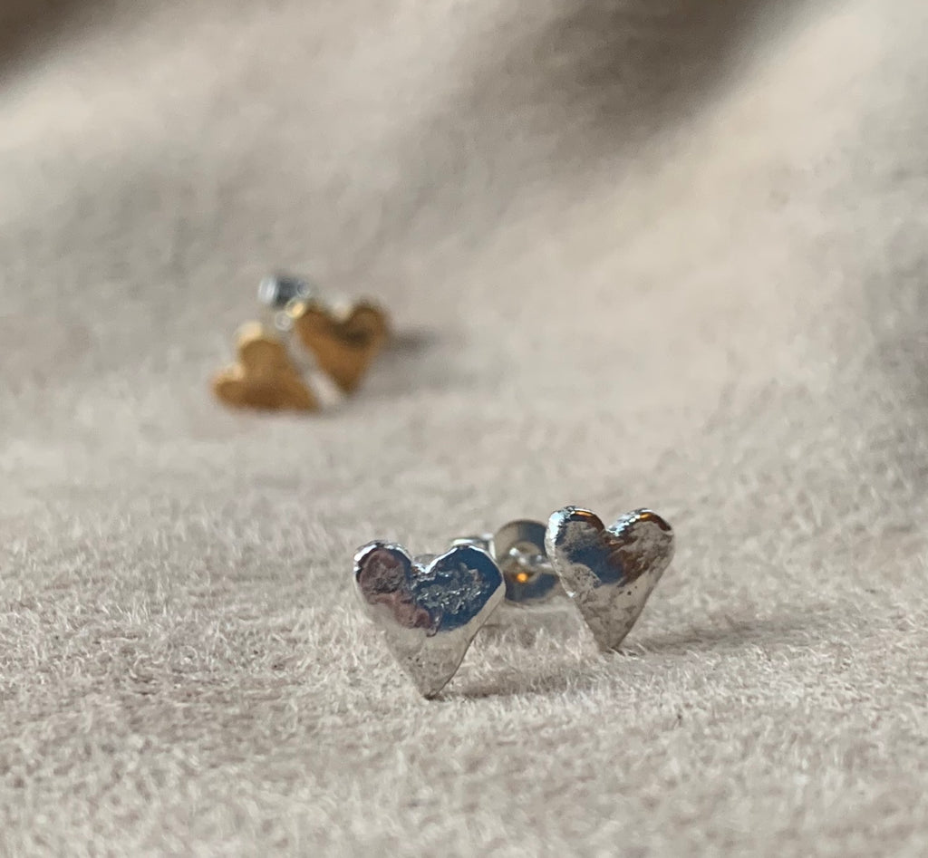 Silver Sweetheart Stud Earrings