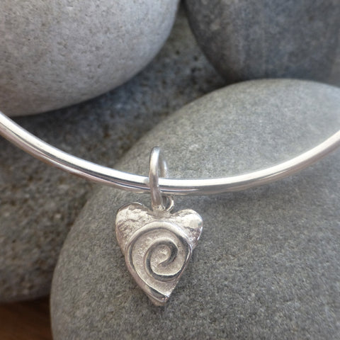 Swirly Heart Charm Bangle