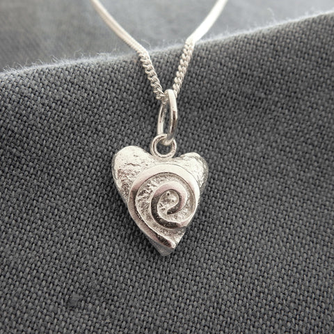 Mini Swirly Heart Pendant and Chain